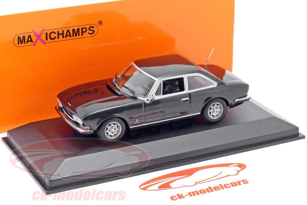 Peugeot 504 Coupe Bouwjaar 1976 donkergrijs metallic 1:43 Minichamps