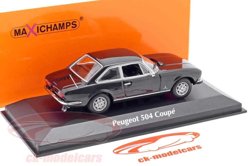 Peugeot 504 Coupe Byggeår 1976 mørkegrå metallisk 1:43 Minichamps