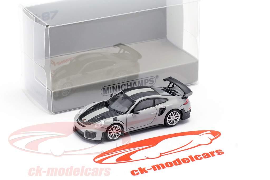 Porsche 911 GT2 RS Année de construction 2018 gris / carbone 1:87 Minichamps