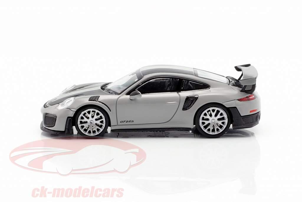 Porsche 911 GT2 RS Byggeår 2018 grå / carboxylsyre 1:87 Minichamps