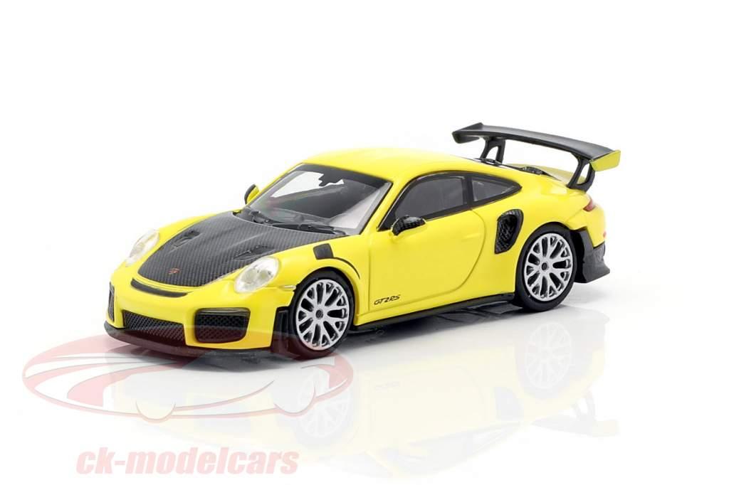 Porsche 911 GT2 RS year 2018 yellow / carbon 1:87 Minichamps