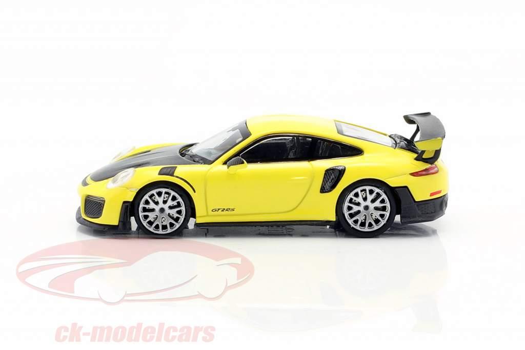 Porsche 911 GT2 RS Byggeår 2018 gul / carboxylsyre 1:87 Minichamps