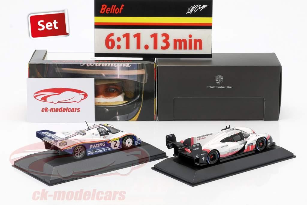 2-Car Set Porsche 919 Hybrid & Porsche 956K Giro record Nürburgring 2018 / 1983 1:43 Spark, CMR