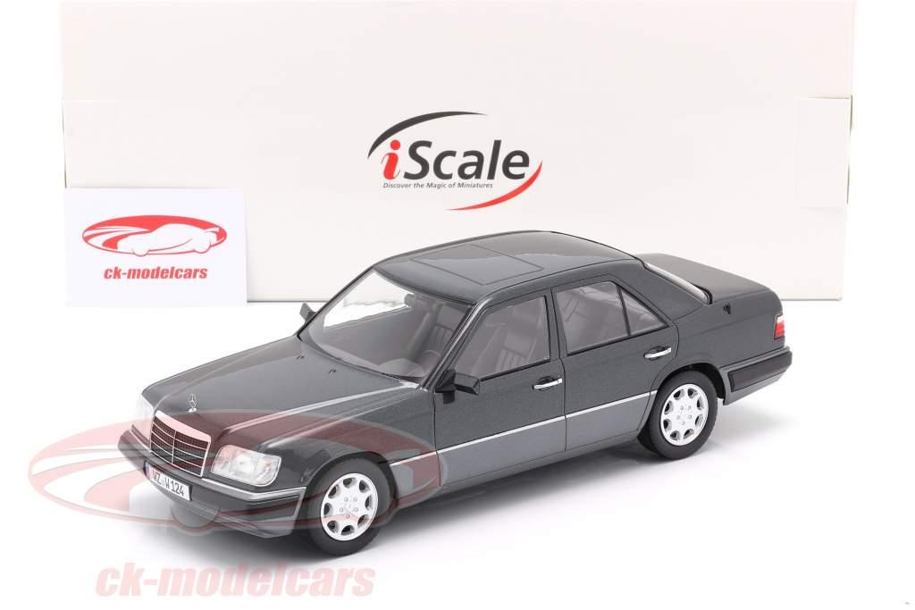 Mercedes-Benz E klasse (W124) Byggeår 1989 blåsorte metallisk 1:18 iScale