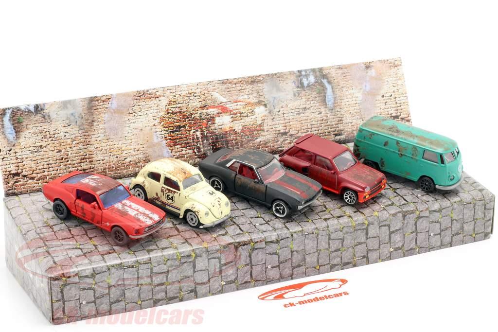 5-Car sæt Vintage Rusty Gave sæt 1:64 Majorette