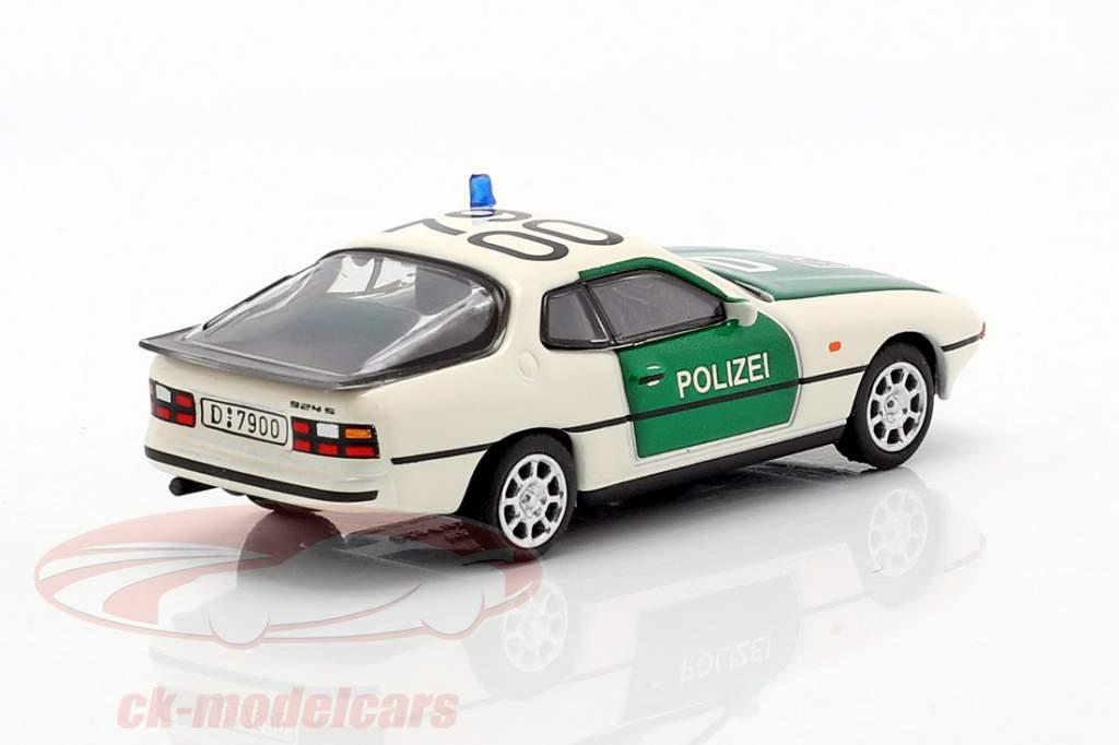 Porsche 924 politi grøn / hvid 1:87 Schuco
