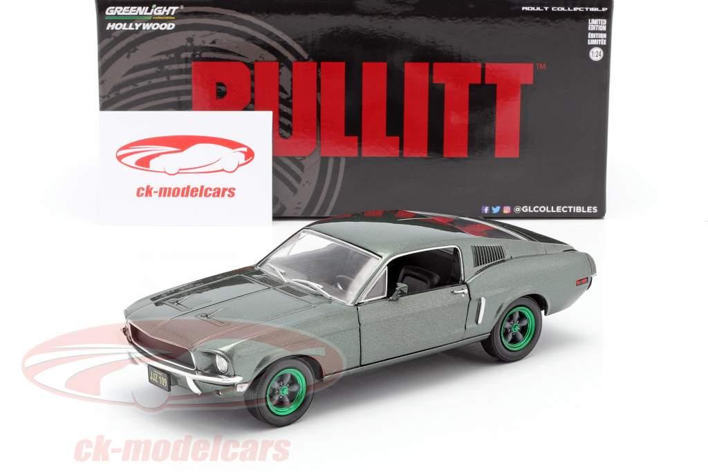 Ford Mustang GT Año de construcción 1968 Película Bullitt (1968) verde llantas 1:24 Greenlight