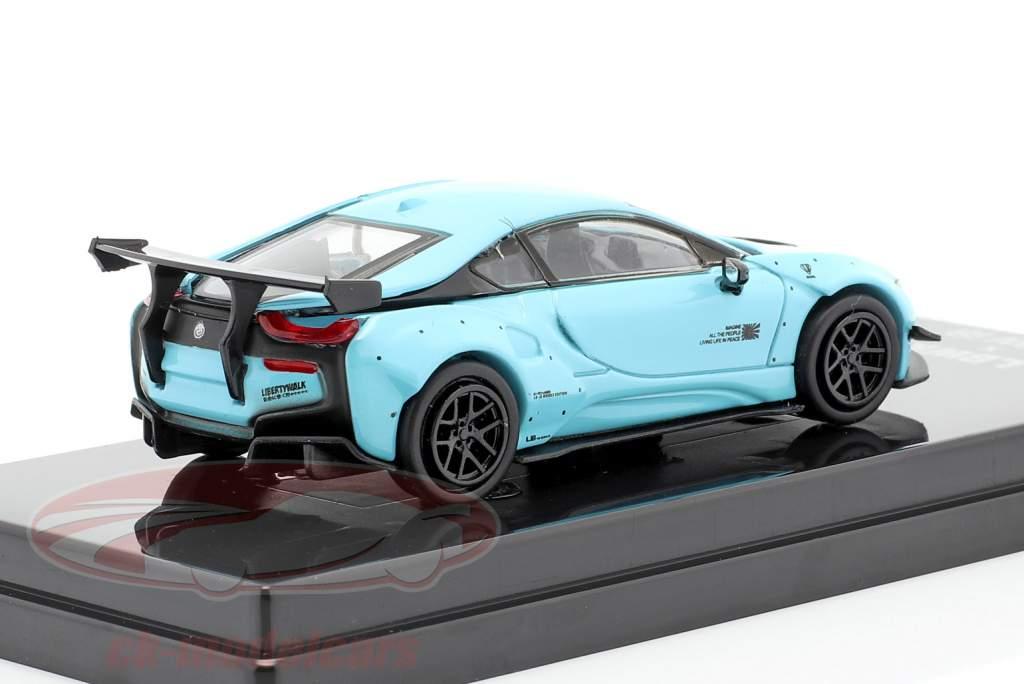 Liberty Walk BMW i8 LHD Bouwjaar 2018 pepermunt groen / licht blauw 1:64 Jaditoys