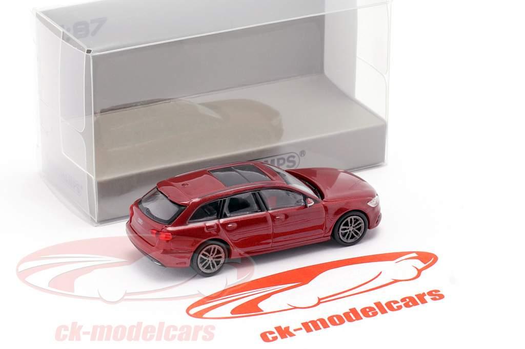 Audi A6 Avant Anno di costruzione 2018 rosso metallico 1:87 Minichamps