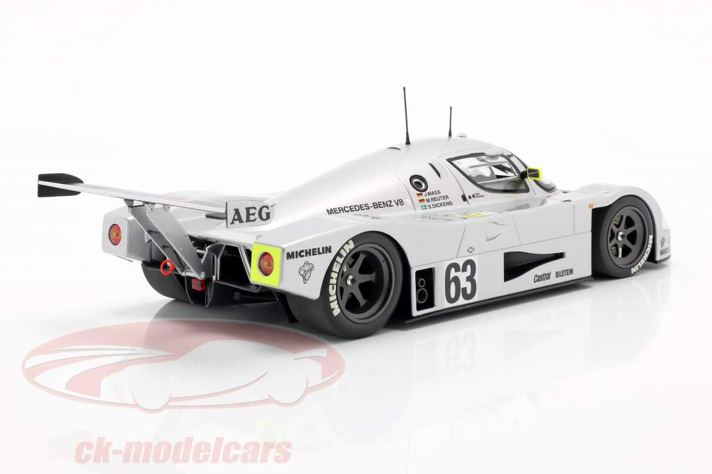 Sauber-Mercedes C9 #63 Winnaar 24h LeMans 1989 Mass, Dickens, Reuter 1:18 Minichamps
