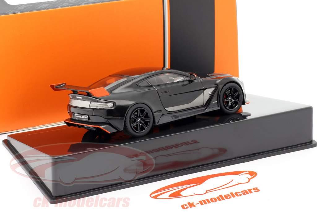 Aston Martin Vantage GT12 Bouwjaar 2015 zwart / oranje 1:43 Ixo