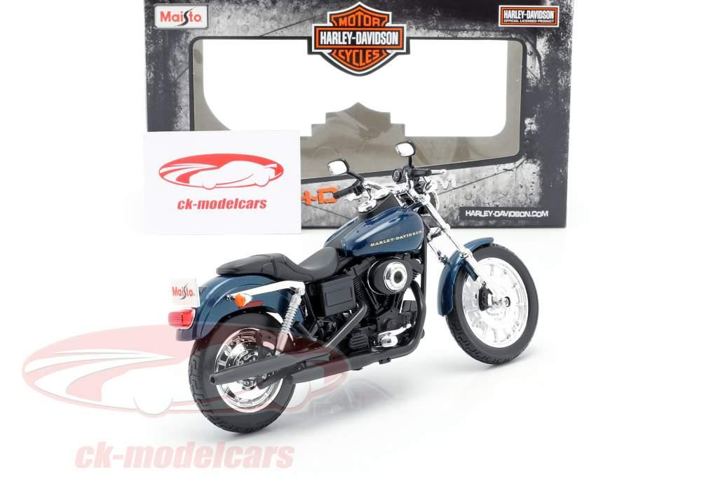 Harley Davidson Dyna Super Glide Sport Ano de construção 2004 azul escuro / preto 1:12 Maisto