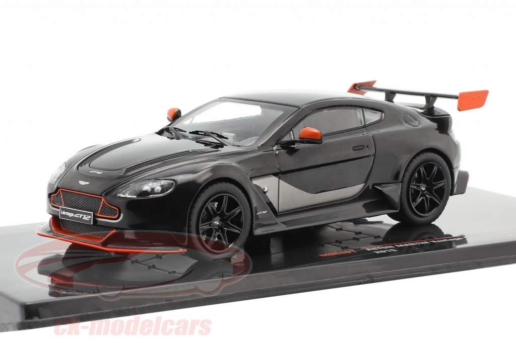 Aston Martin Vantage GT12 Anno di costruzione 2015 nero / arancione 1:43 Ixo