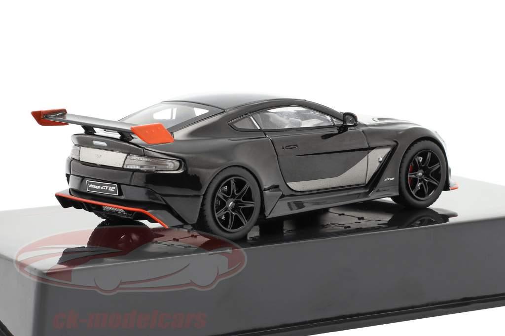 Aston Martin Vantage GT12 Ano de construção 2015 preto / laranja 1:43 Ixo