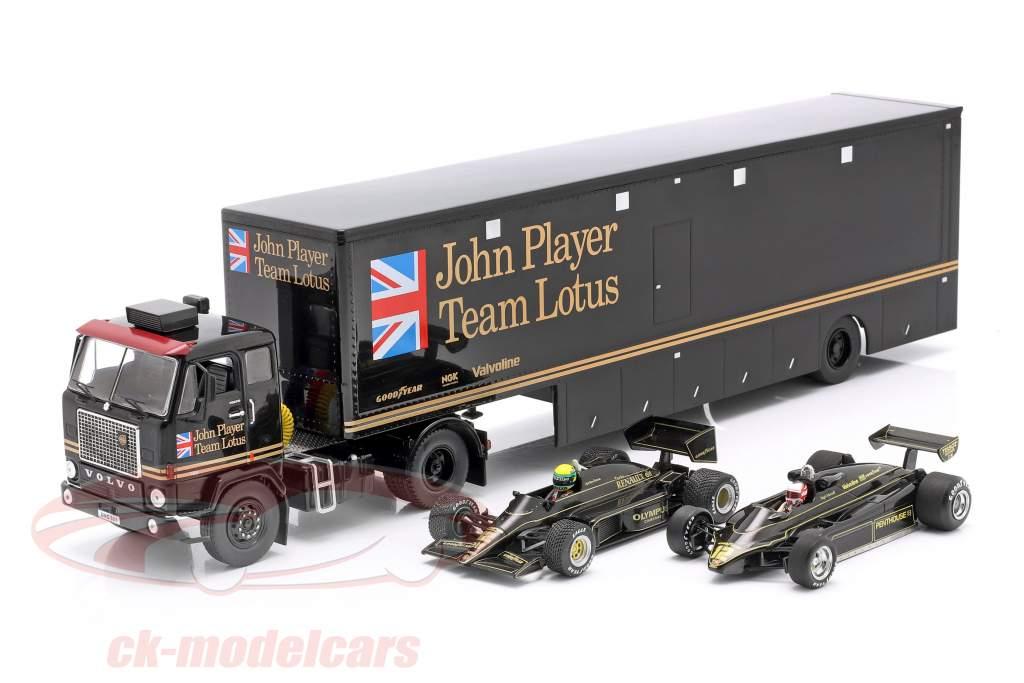 Volvo F88 Carrera Coche Transportador John Player Team Lotus negro 1:43 Ixo