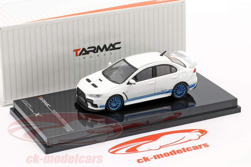 Mitsubishi Lancer Evolution X 311 RS bianca / blu 1:64 Tarmac Works