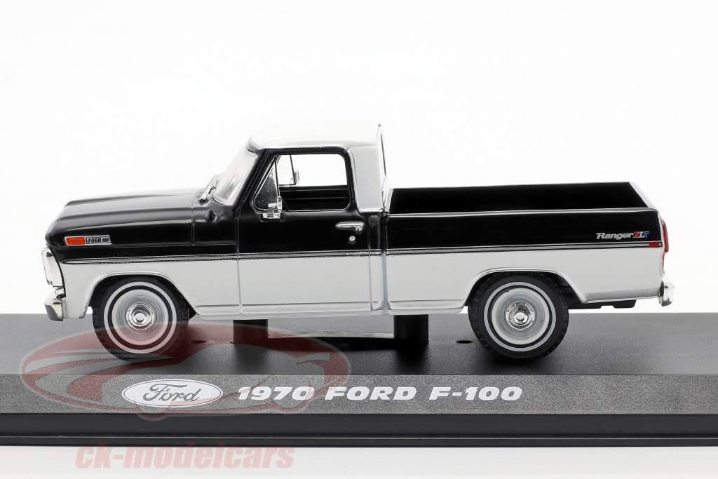 Ford F-100 Pick-Up Año de construcción 1970 negro / Blanco 1:43 Greenlight
