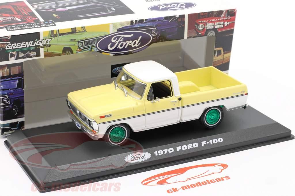 Ford F-100 Pick-Up Ano de construção 1970 amarelo / Branco / verde aros 1:43 Greenlight