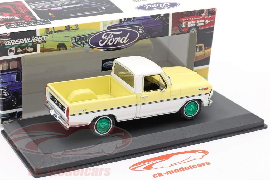 Ford F-100 Pick-Up Année de construction 1970 Jaune / blanc / vert jantes 1:43 Greenlight