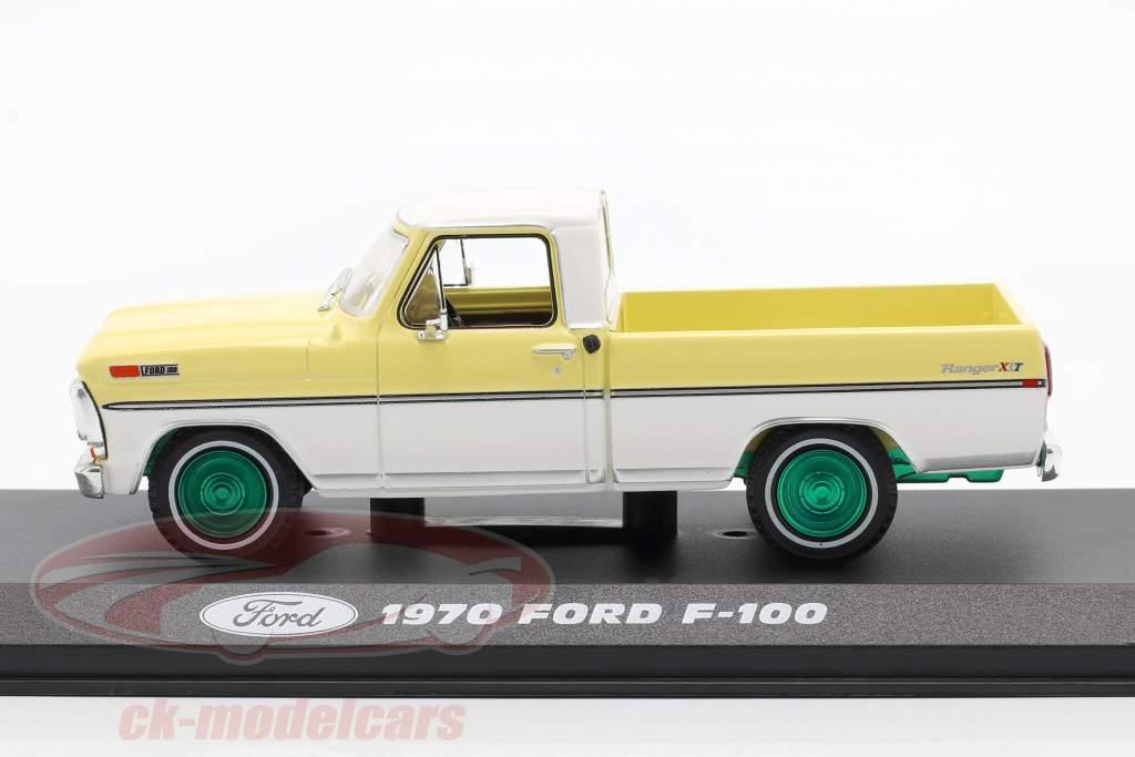 Ford F-100 Pick-Up Byggeår 1970 gul / hvid / grøn fælge 1:43 Greenlight