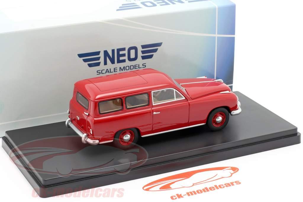 Borgward Hansa 1500 station wagon Bouwjaar 1951 rood 1:43 Neo