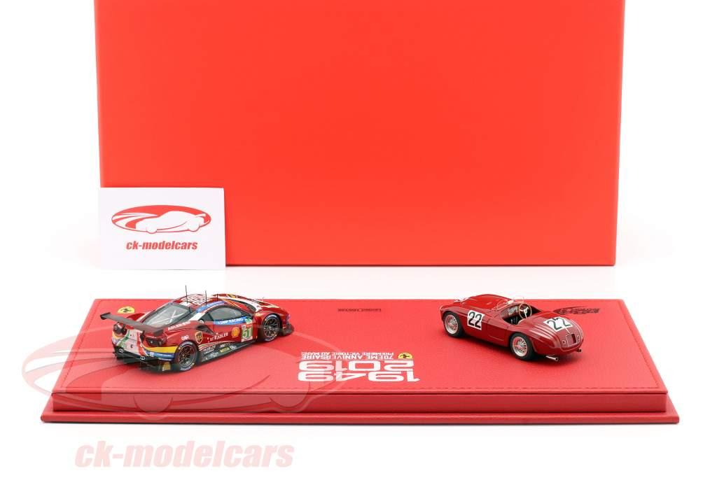 2-Car Set Ferrari 166MM #22 / 488 GTE #51 Ganador 24h LeMans 1949 / 2019 1:43 BBR