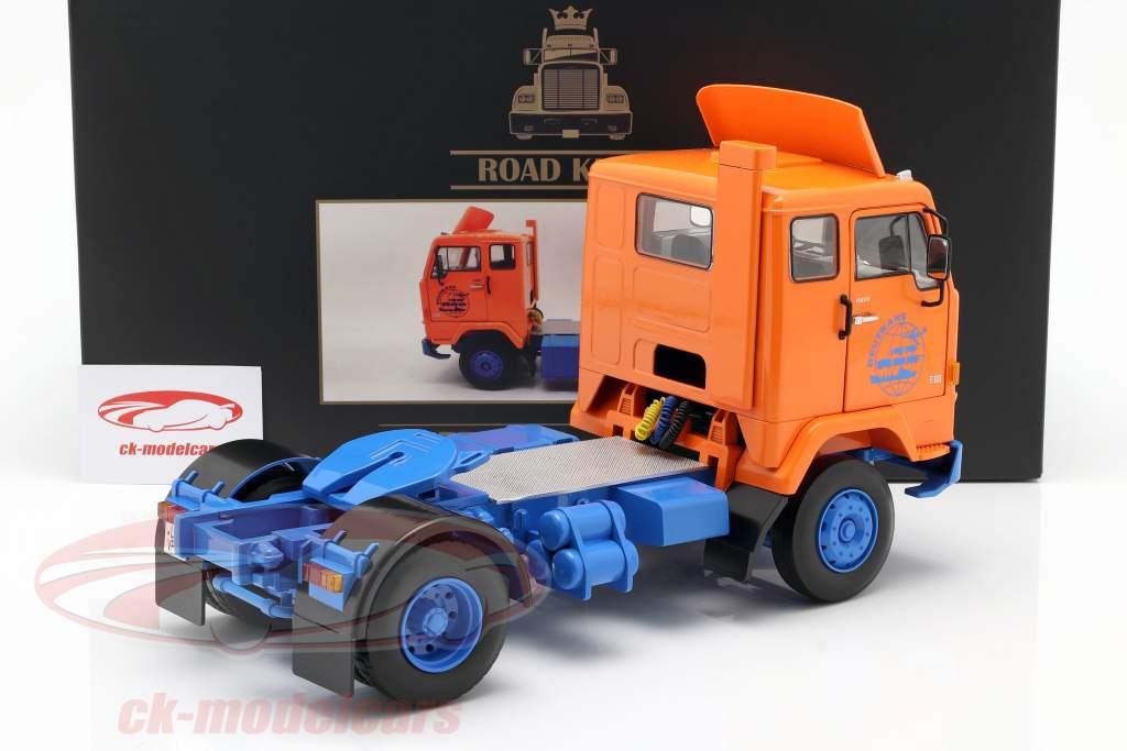 Volvo F88 Deutrans lastbil Byggeår 1965 orange / blå 1:18 Road Kings