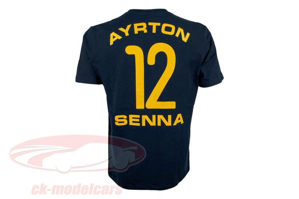 Ayrton Senna T-Shirt #12 dunkelblau / gelb