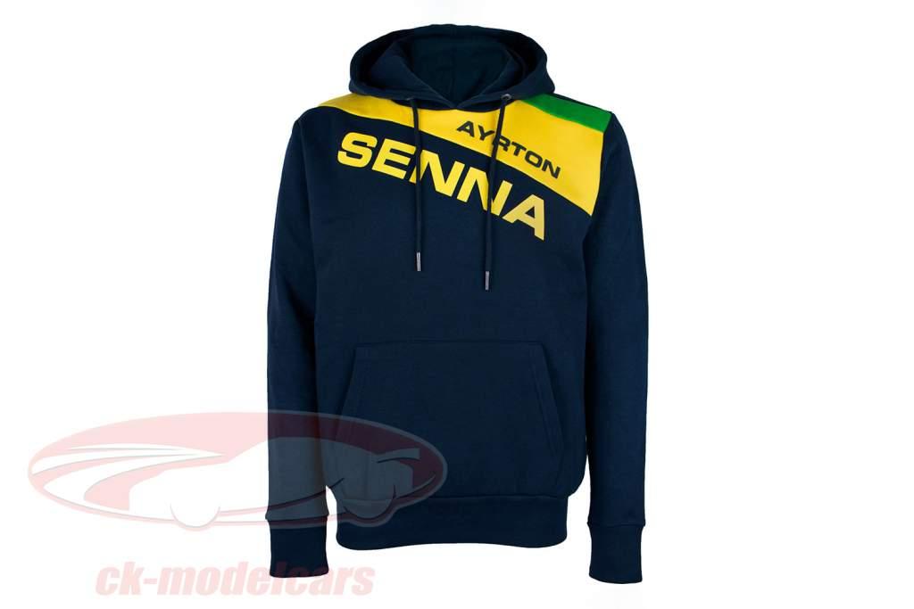 Ayrton Senna Felpa con cappuccio Racing II blu scuro / giallo / verde