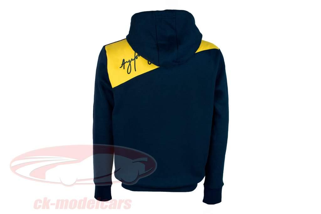Ayrton Senna Hoodie Racing II dunkelblau / gelb / grün