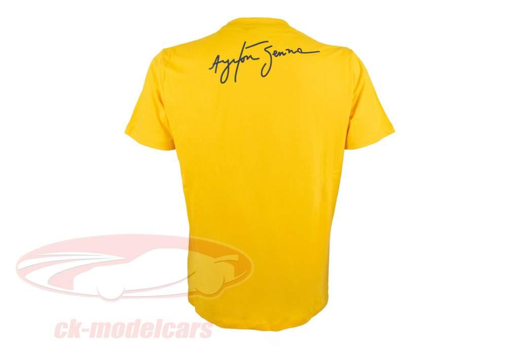 Ayrton Senna T-Shirt Racing Assinatura amarelo