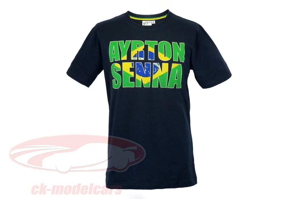 Ayrton Senna T-Shirt Brazil donkerblauw