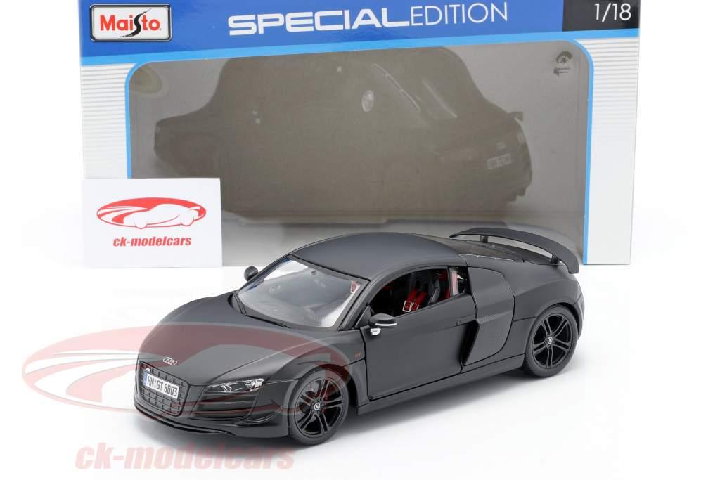 Audi R8 GT måtte sort 1:18 Maisto