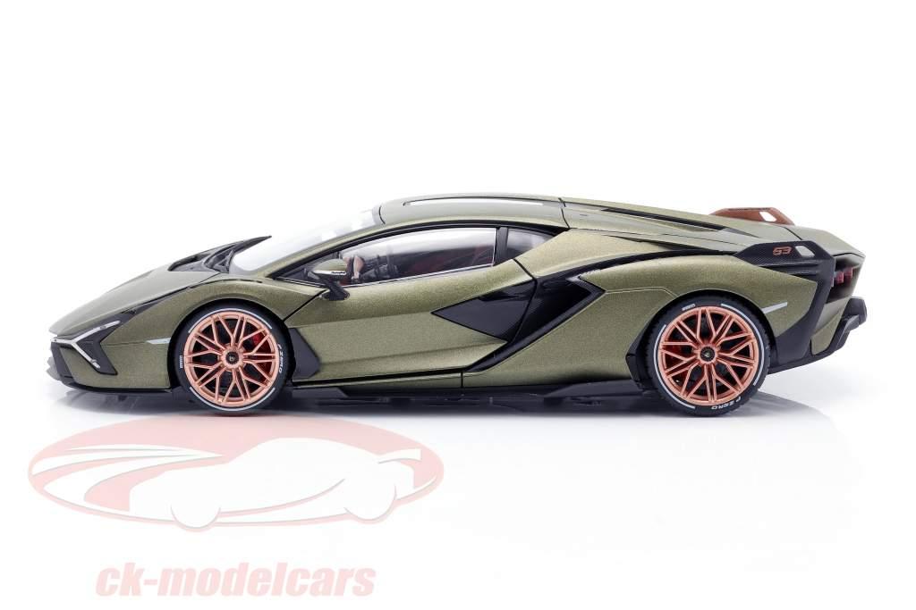 Lamborghini Sian FKP 37 Bouwjaar 2020 mat olijfgroen 1:18 Bburago