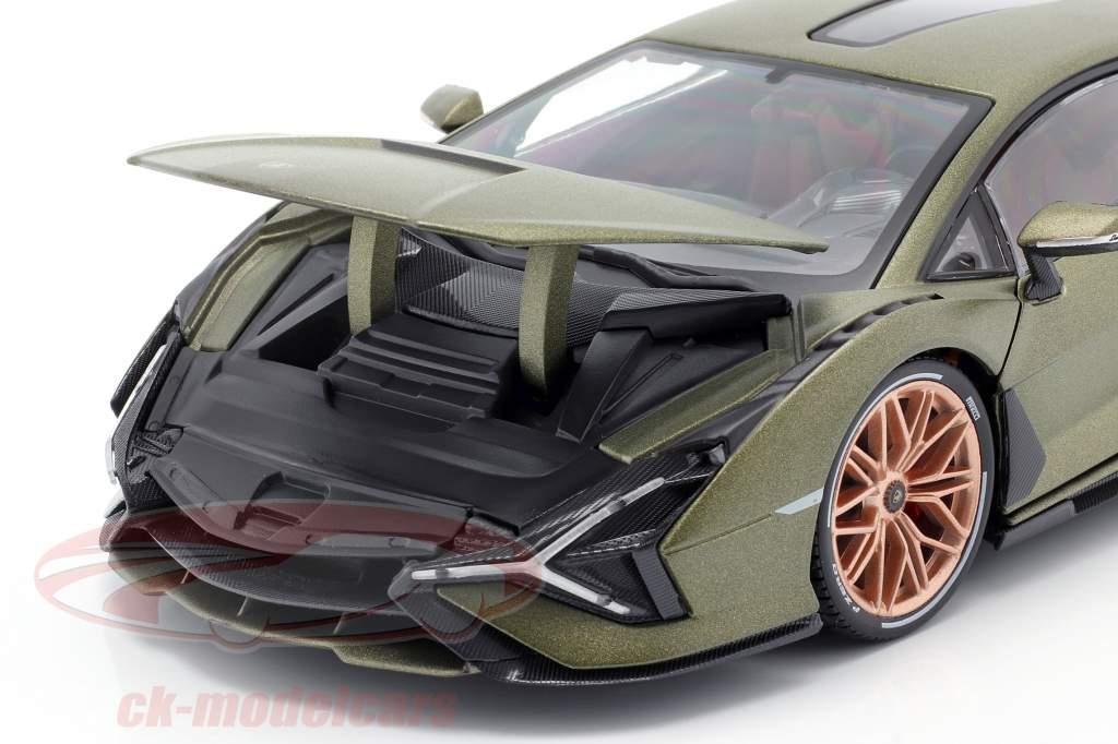 Lamborghini Sian FKP 37 Ano de construção 2020 esteira verde oliva 1:18 Bburago