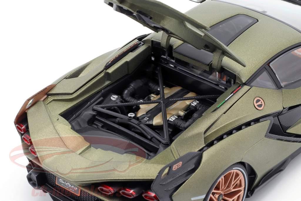 Lamborghini Sian FKP 37 Byggeår 2020 måtte oliven grøn 1:18 Bburago