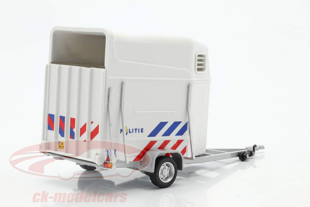Hest Anhænger politi Holland hvid 1:43 Cararama