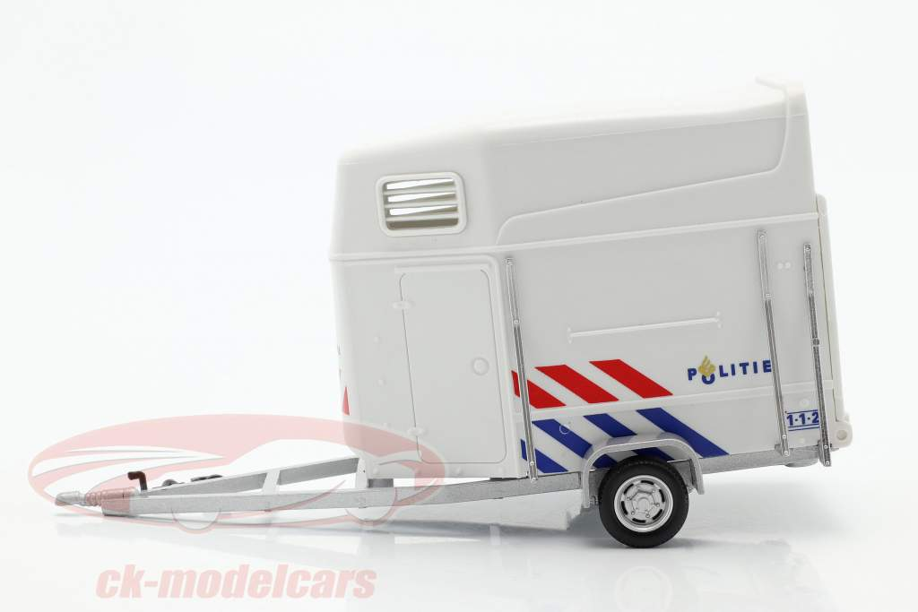 Cavallo trailer polizia Olanda bianca 1:43 Cararama