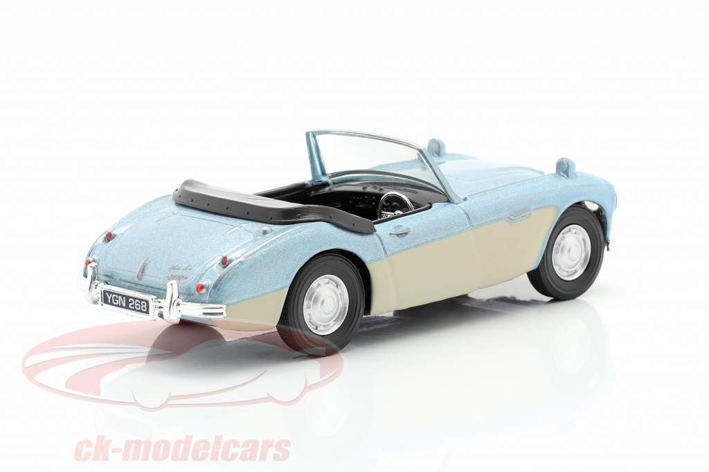 Austin Healey Convertible Open Top light blue metallic / cream white 1:43 Cararama