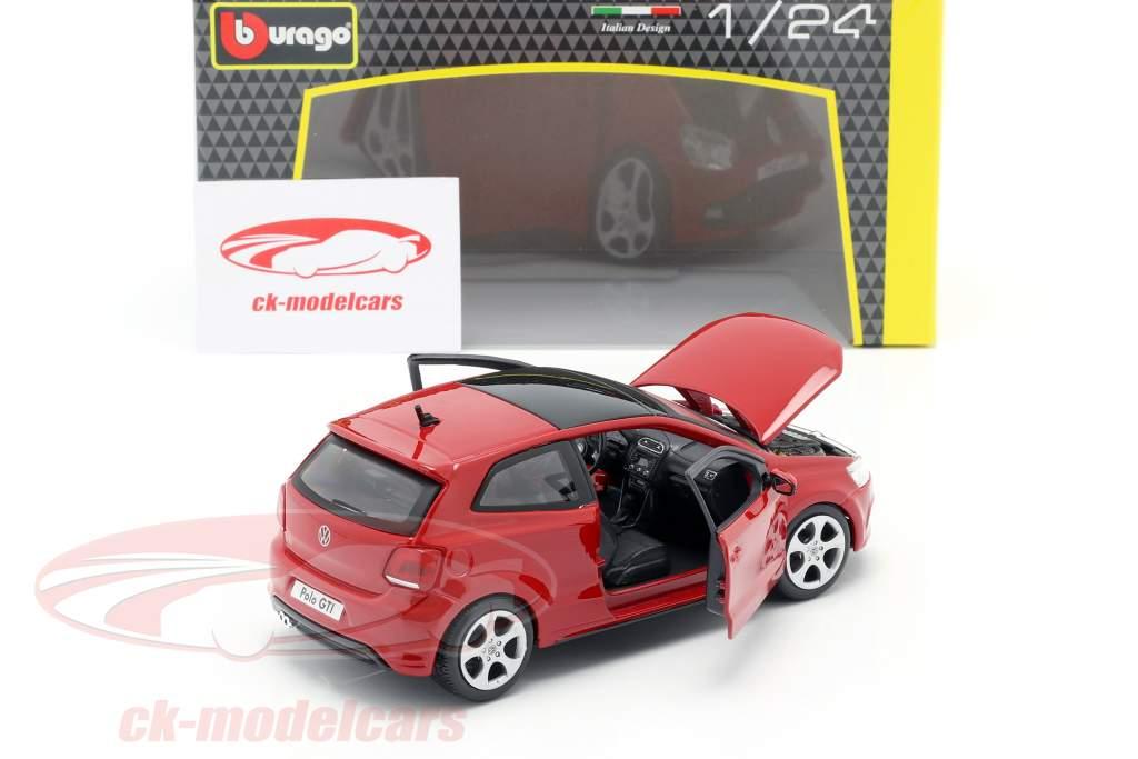 Volkswagen VW Polo MK5 GTI vermelho 1:24 Bburago