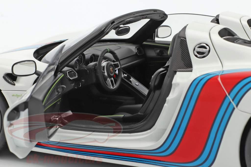 Porsche 918 Spyder Weissach Package Martini Bouwjaar 2013 wit 1:18 AUTOart