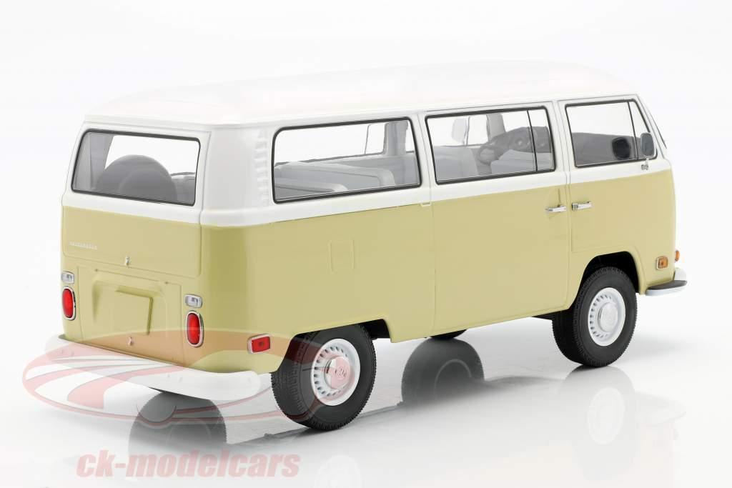 Volkswagen VW T2a Bus Bouwjaar 1971 beige / Wit 1:18 Greenlight