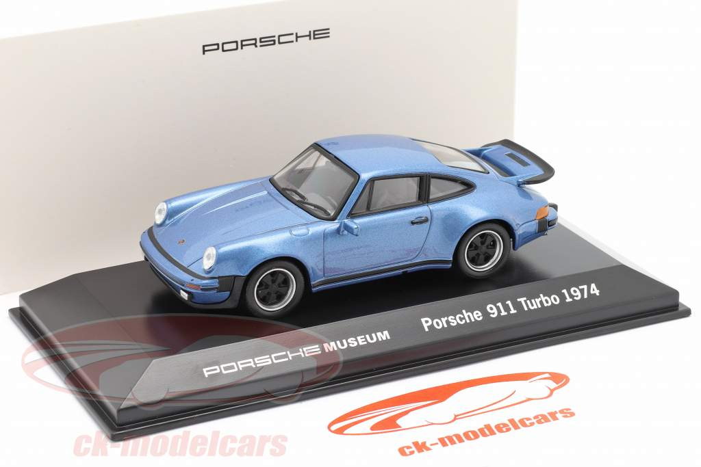 Porsche 911 Turbo år 1974 blå metallic 1:43 Welly