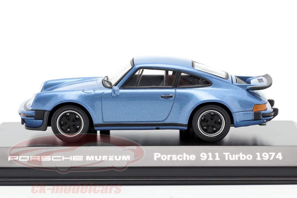 Porsche 911 Turbo jaar 1974 blauw metalen 1:43 Welly