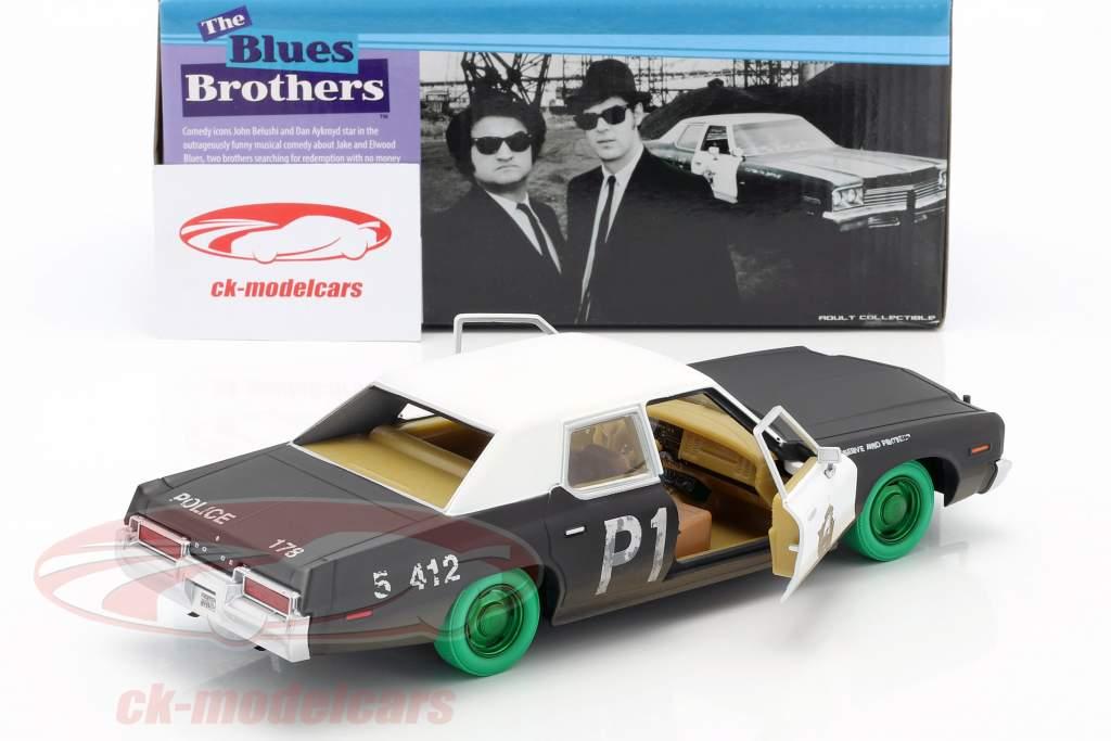 Dodge Monaco Bluesmobile Blues Brothers 1980 sort / hvid / grøn 1:24 Greenlight