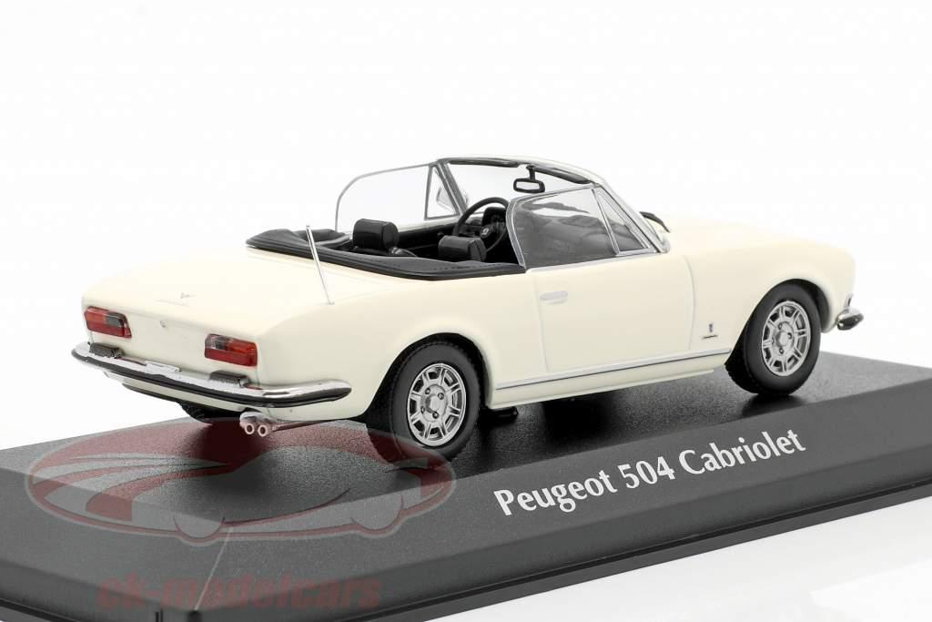 Peugeot 504 Cabriolet Byggeår 1977 hvid 1:43 Minichamps