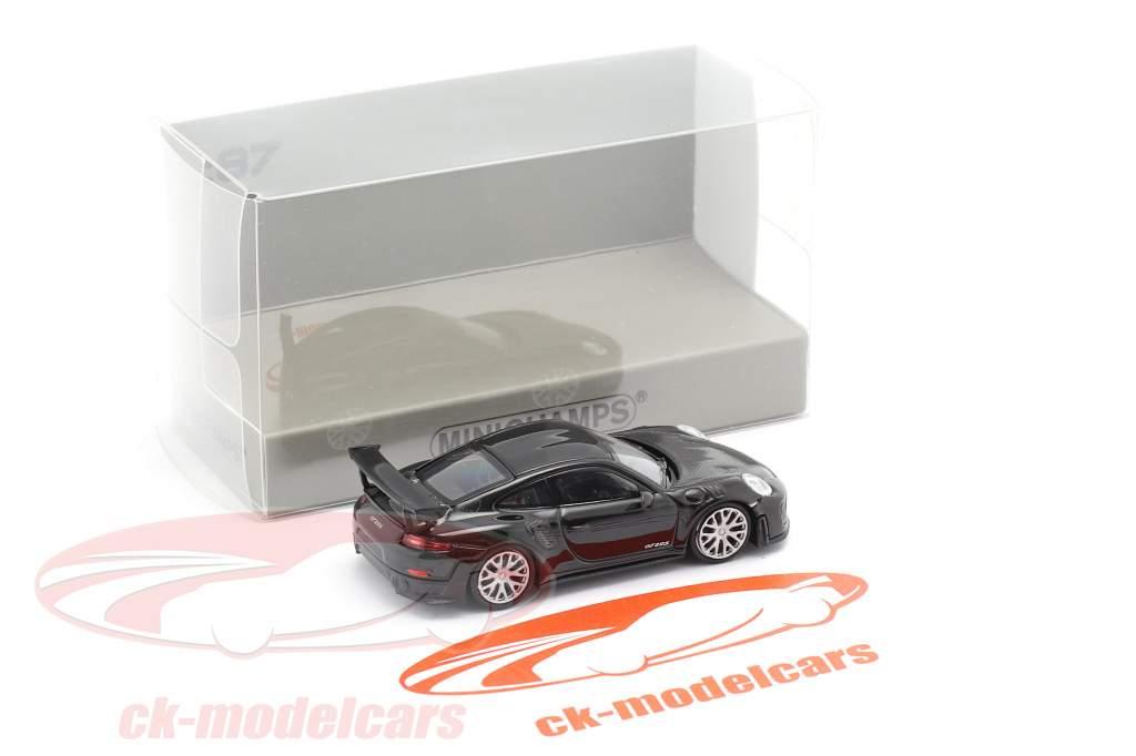 Porsche 911 GT2 RS Bouwjaar 2018 zwart / koolstof 1:87 Minichamps