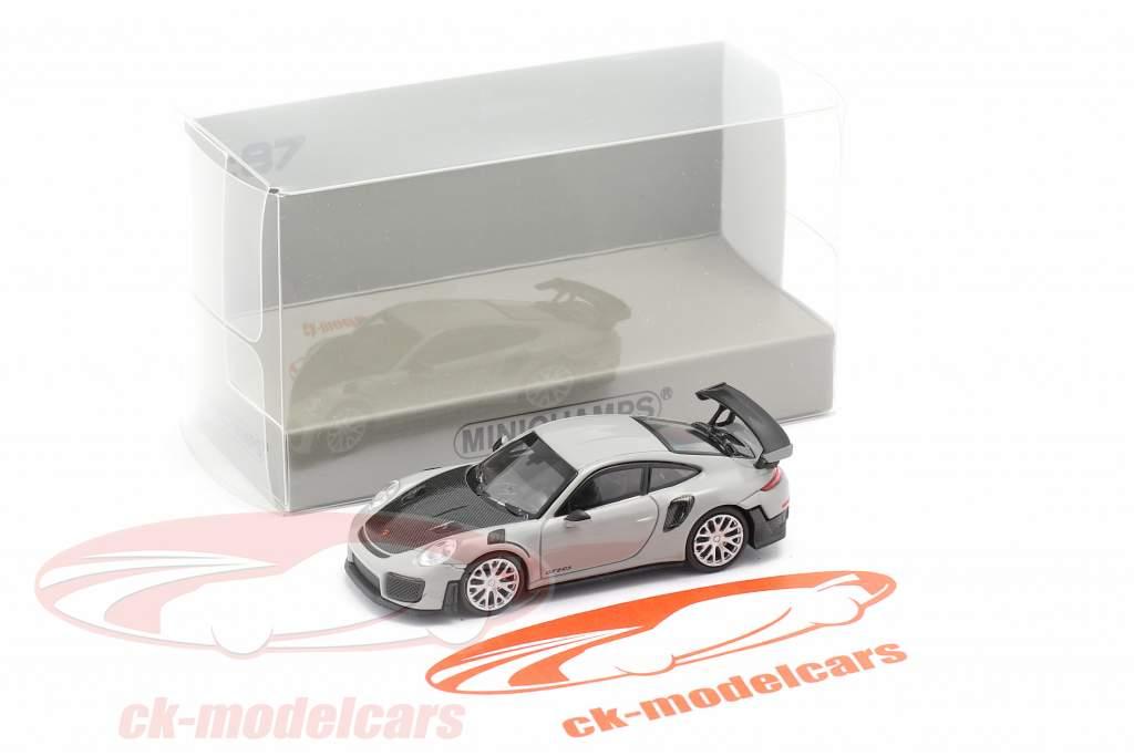 Porsche 911 GT2 RS Ano de construção 2018 cinzento / carbono 1:87 Minichamps
