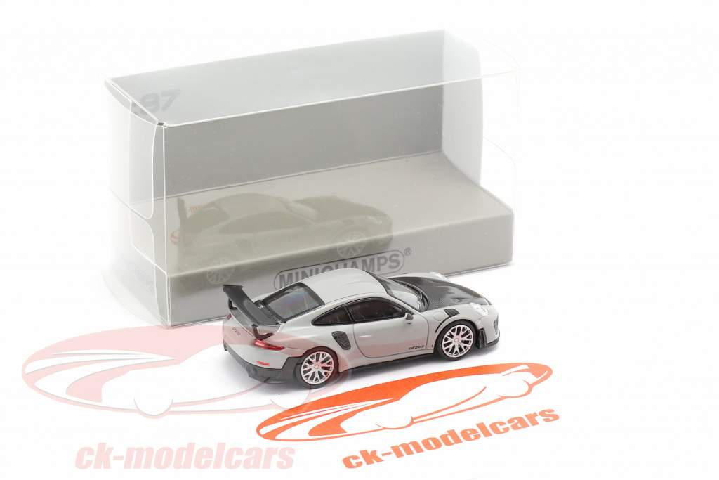 Porsche 911 GT2 RS year 2018 grey / carbon 1:87 Minichamps