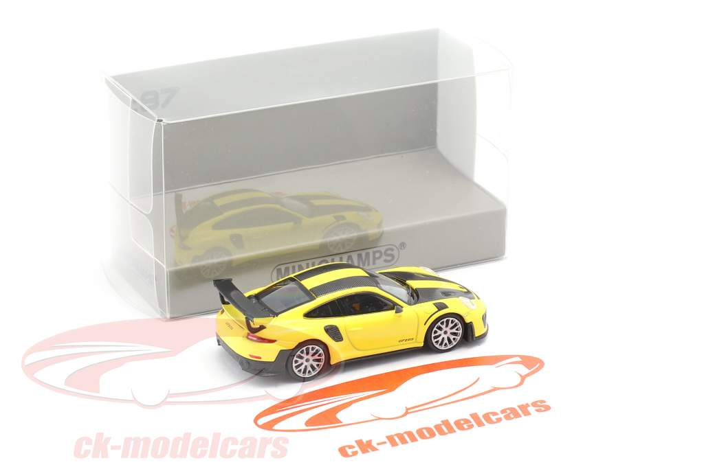 Porsche 911 GT2 RS Bouwjaar 2018 geel / koolstof 1:87 Minichamps